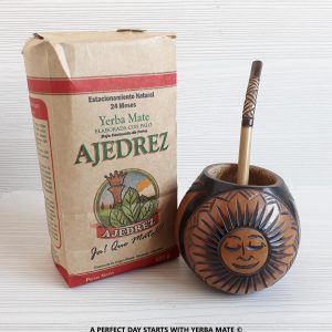 "Handcrafted ""Sun"" Mate Gourd with Bombilla + Organic Yerba Mate"