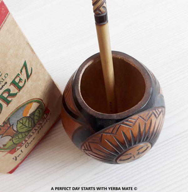 "Handcrafted ""Sun"" Mate Gourd & Bombilla + Organic Yerba Mate"
