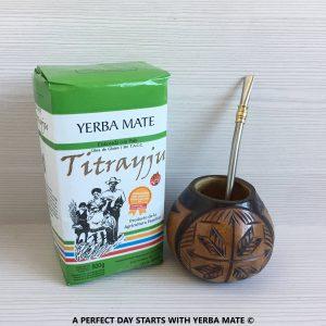 Handcrafted Yerba Mate Gourd + Yerba Bag