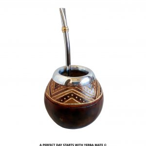 Handcrafted Indian Pattern Mate Gourd and Bombilla