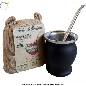 Stainless-Steel-Yerba-Mate-Cup-Bombilla-Black + Yerba Mate Bag