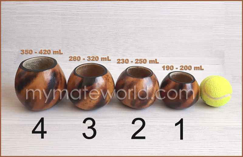 Mate Gourds Sizes & Volumen Capacity